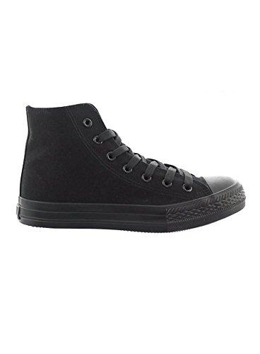 JUMEX Schuhe Herren Canvas High Top Sneaker Freizeitschuhe JX-9024 Schwarz-Schwarz EUR 42