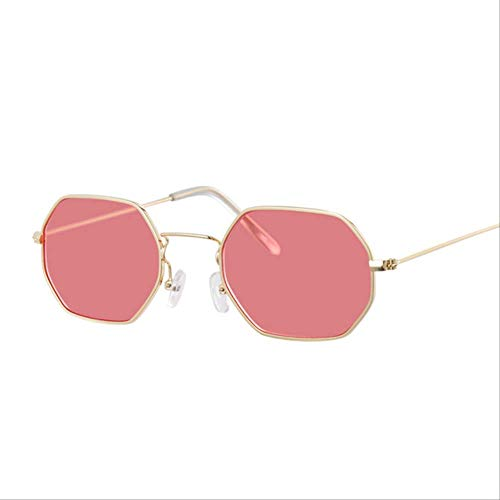 JDKAL Polygon Sunglasses Women Sunglasses Female Candy Color Alloy Mirror GoldRed Model