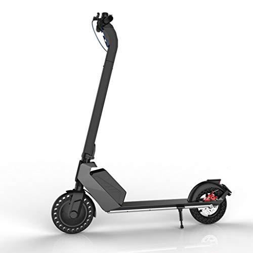 JHZYP - Patinete eléctrico para adultos, plegable, motorizado de 350 W, neumáticos sólidos de 8,5 pulgadas, pantalla LCD y luz LED, patinete eléctrico ultraligero, plegable para Adolescentes, negro