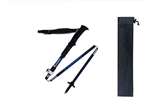 YHDQ Outdoor-Sportarten, Carbon-Wanderstöcke, Schlösser, Klappstöcke, ultraleichte und ultrakurze Outdoor-Wanderstöcke-Blue