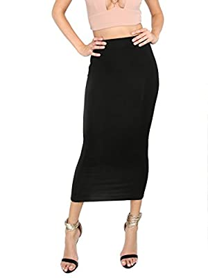 MakeMeChic Women's Solid Basic Below Knee Stretchy Pencil Skirt Black L
