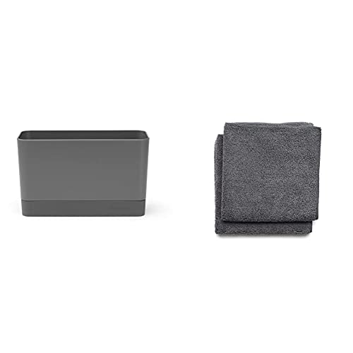 Brabantia Sink Side Organizer per Lavello, Dark Grey, 8.5 x 19 x 11.5 cm & Sink Side Set Panni Pulizia, Microfibra, Grigio (Dark Grey), 30 x 30 x 0.5 cm, 2 unità