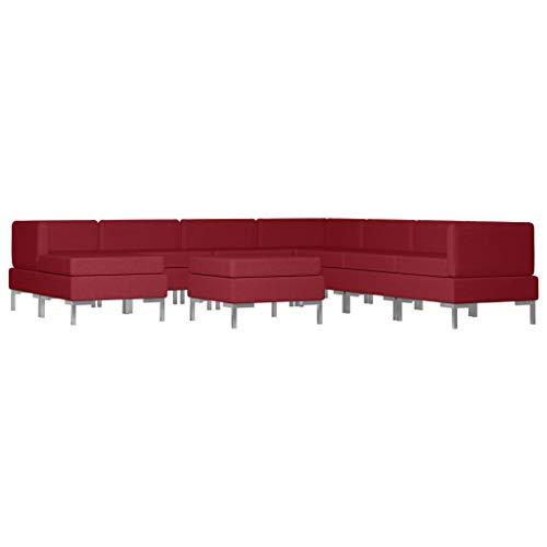 vidaXL Sofagarnitur 9-TLG. Stoffsofa Loungesofa Couch Polstersofa Sofa Couchgarnitur Polstergarnitur Sitzmöbel Mittelsofa Ecksofa Fußhocker Stoff Weinrot
