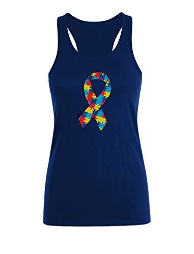 Camiseta sin Mangas para Mujer   Large Autism Awareness Colorful Puzzle Ribbon Large Azul Oscuro