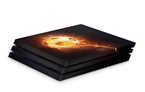 Skins4u Aufkleber Design Schutzfolie Vinyl Skin kompatibel mit Sony PS4 Playstation 4 Pro brennender fussball