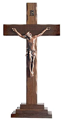 WQQLQX Estatuilla Cristo Escultura Crucifixión Estatua Sólido Madera Artesanía Católica Religioso Adornos Adornos Accesorios Accesorios Accesorios Balificadores Regalos Figuras Estatua