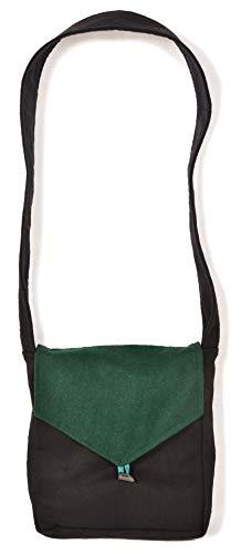 HEMAD Mittelalter Tasche Larie aus Wollfilz Schwarz-Grün Gewandung