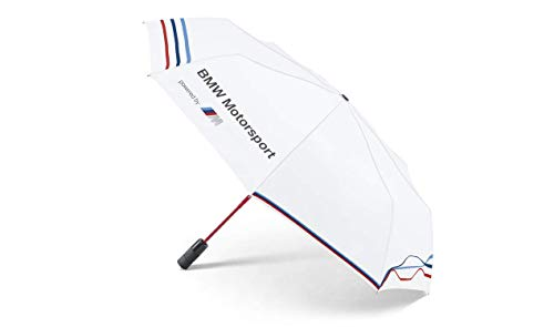 BMW Motorsport Regenschirm Taschenschirm mit Auf-Zu-Automatik, PU-Beschichtung, sturmfest bis 140km/h - klein, leicht, Winddicht, stabil, kompakt, originaler Golfschirm 80232285874
