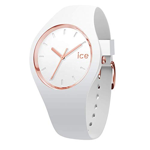 Ice-Watch ICE Glam White Rose-Gold, Orologio Bianco da Donna con Cinturino in Silicone, 000977 , Small (34 mm)