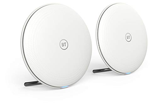 BT Whole Home Wi-Fi, Pack of 2 Discs, Mesh Wi-Fi for seamless, speedy (AC2600) connection, Wi-Fi everywhere in small to medium homes, App for complete control and 2 year warranty