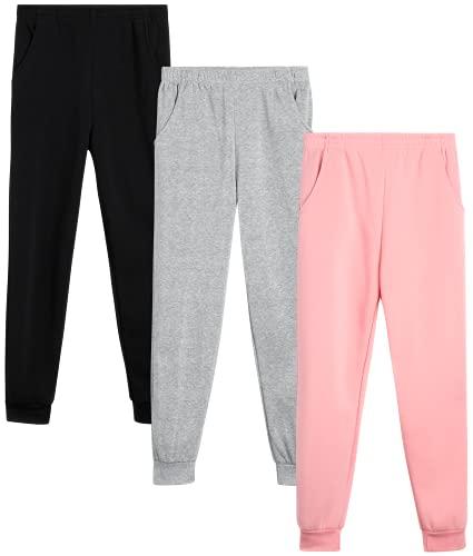 Coney Island Girls? Sweatpants - Active Fleece Joggers (3 Pack), Size 6X, Black/Mauve/Heather Grey
