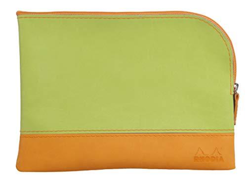 Clairefontaine Rhodiarama Pochette zippée en simili cuir italien Taille M 16 x 22 cm Vert anis