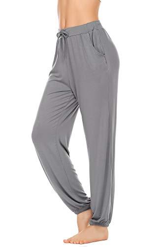 Unibelle yogabroek voor dames, lange broek, zachte joggingbroek met tas, sportbroek voor yoga, pilates, fitness-training