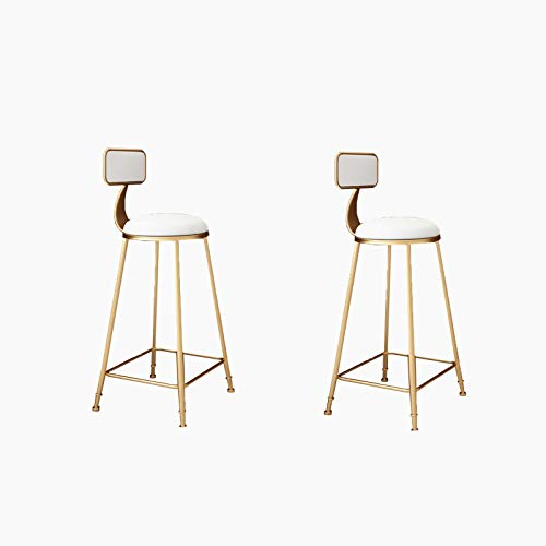 FYMDHB886 Hoge kruk Barstoel Strijkijzer stoffen stoel Gouden barstoel Multifunctionele ontbijtstoel Dubbel fluweel comfort rugleuning (2 stuks), Size, C