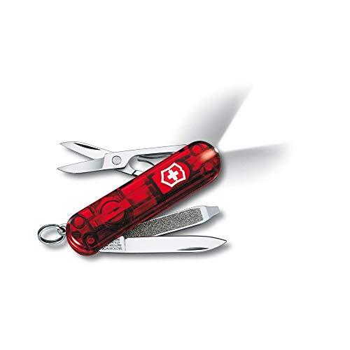 Couteau de poche Victorinox Swisslite (8 fonctions, ciseaux, lampe LED, anneau) rouge translucide