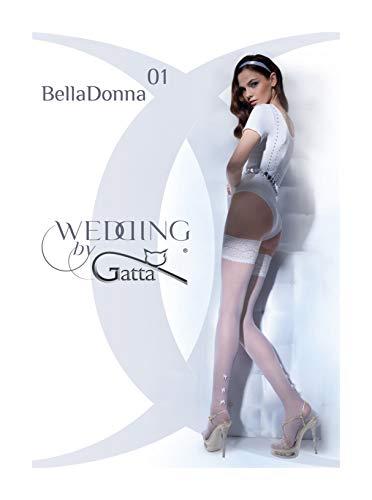 Gatta Wedding Bella Donna 01 - sexy gemusterte halterlose Hochzeitsstrümpfe - Größe M-L - Bianco
