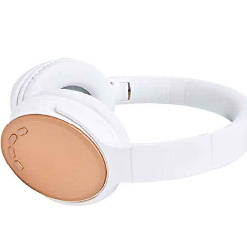 Wsaman Auriculares inalámbricos Bluetooth, Auriculares para DJ con Cancelación de Ruido, para Deportes Oficina en Casa Trabajo, Tablets Auriculares Cómodos Plegables,Oro