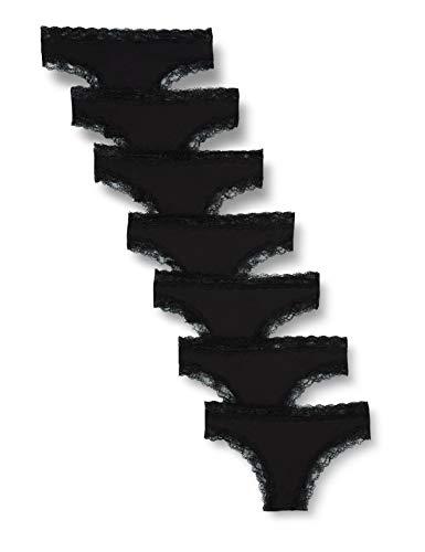 Iris & Lilly Damen Brazilian-Slip aus Baumwolle, 7er-Pack, Schwarz (Black), L, Label: L