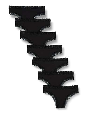 Iris & Lilly Damen Brazilian-Slip aus Baumwolle, 7er-Pack, Schwarz (Black), XS, Label: XS
