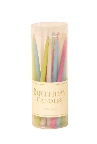 Caspari Entertaining - Candeline per Compleanno Senza essenze odorose, 7,6cm, 20 Pezzi, Toni pastelli