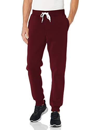Southpole Men's Active Basic Jogger Fleece Pants, Burgundy New, 3X-Large