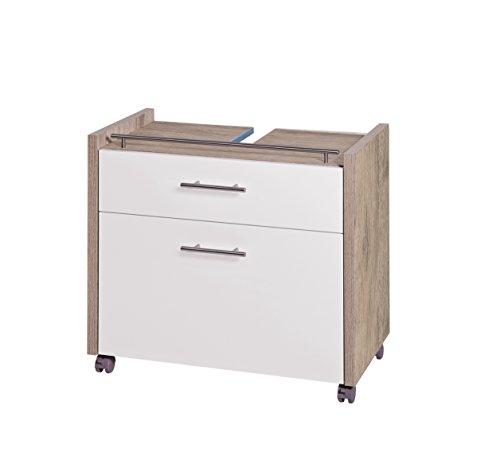 Schildmeyer Waschbeckenunterschrank 133073 Trient, 67 x 35 x 60.5 cm, weiß glanz / wildeiche Dekor