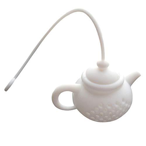 Ouneed -Teebeutel Tee-Ei-Geschenk-Set für Loose Leaf Kräutertee, Cute Nessie Silikon-Teesieb Paar für eine Tasse oder Tasse, Tee Steilere Geschenkidee Passieren Löffel/Suppenkelle/Tee-Ei (Weiß)