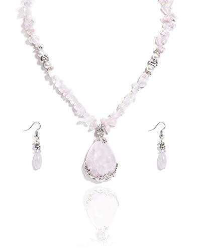 VintFlea Juego de pendientes de collar de piedras preciosas de cuarzo rosa genuino para mujer