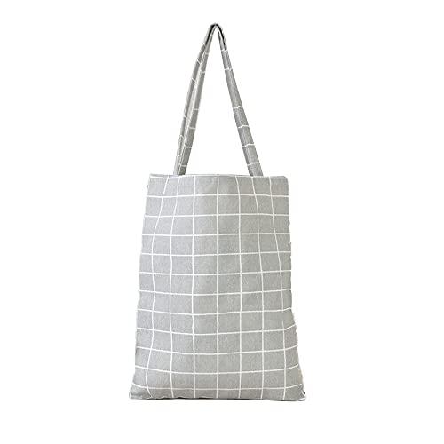 KIHL Shopper Bag Damen Kariertes Leinen Baumwolle Canvas Shopping Umhängetaschen Umweltfreundliche Faltbare Tragbare Einkaufstaschen
