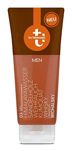 t: by tetesept Duschgel - t: by Michalsky Brown MEN Dusche – 2 in 1 Duschgel und Shampoo: Aromadusche mit Himalayawasser, Sandelholz, Weihrauch, Kumquat und Whisky – 2er Pack (2 x 200 ml)