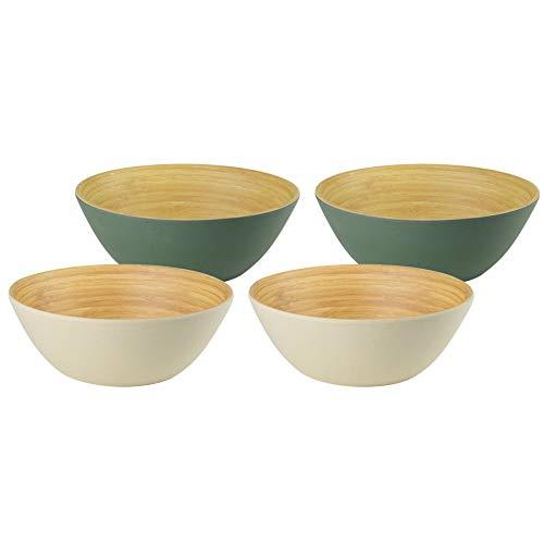 BIOZOYG Bio Bols en Bambou à céréales 4 Bols 4 pièces 2X Ivoire 2X Huile 16 x 6 cm Rond 500 ML I Vaisselle en Bambou écologique, Bol à Salade en Bois
