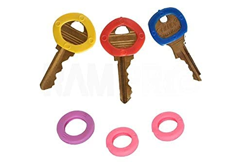 RAM-PRO 24 PC Color Coded Key Identifier Rings Plastic Tags - Key Sleeves Rings in 6 Different Colors…