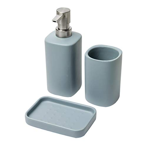 Baroni Home Set 3 Pezzi in Ceramica da Bagno Modern Blu Avio. Include Dispenser, Bicchiere e portasapone
