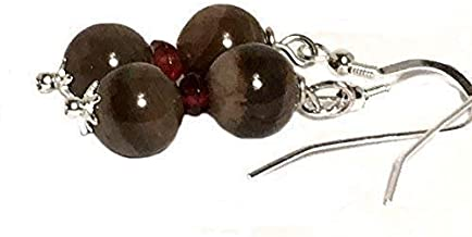 Petrified wood earrings, garnet earrings, all sterling silver, gift from Seattle, gift from Washington, official state gemstone