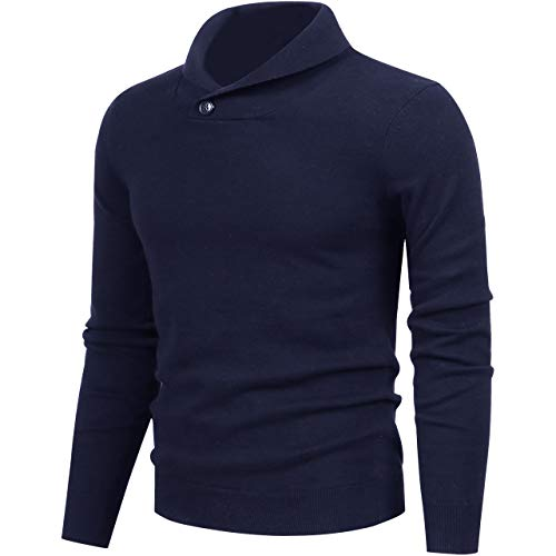 LTIFONE Mens Shawl Sweaters,Casual Slim Fit,Knitted Collar Long Sleeve,Outwear Soft Cotton with One Button(Blue,XL)