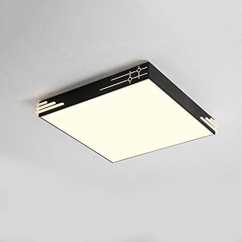 40 W LED-plafondlamp, afstandsbediening, dimbaar, modern, voor binnen, plafond, creatief design, plafondlamp, voor slaapkamer, woonkamer, eetkamer, restaurant, woonkamerlamp, L50 × B50 × H8 cm, zwart