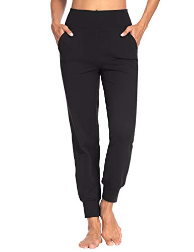 MOVE BEYOND Donna Pantaloni Jogger con 4 Tasche, a Vita Alta Pantaloni Sportivi Allenamento con Polsino, Nero, M