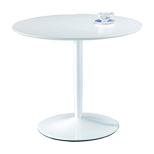 ASPECT Jakob 4 Seater Round Dining Wooden Top and Metal Base (Table White), 90 Diameter x74(H) cm