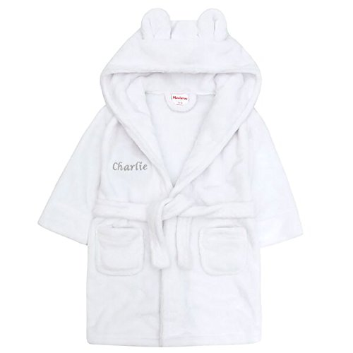 Hoolaroo Embroidered Personalised Soft Baby White Dressing Gown Bath Robe with Teddy Ears 18-24 Pink or Blue Text