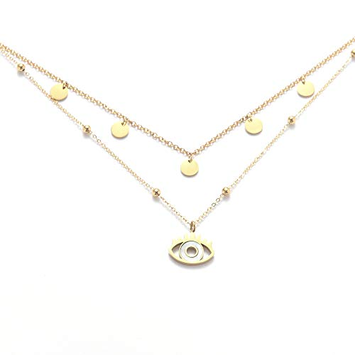 Kim Johanson Stainless Steel Women's Multilayer Necklace *Coin & Eye* in Gold with 5 Round Plates & Mother of Pearl (2 x Chain Set) Boho Jewellery Chain Adjustable with Jewellery Bag gold