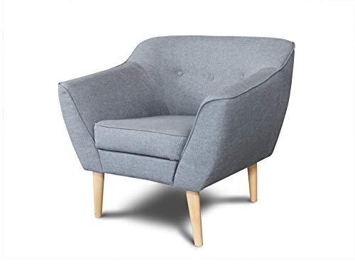 Sessel Scandi - Scandinavian Design Kollektion, Holzfüße, Couchhusse für Einsitzer Couchsessel oder Loungesessel, Stuhl, Wohnzimmer (Grau (Sawana 21))