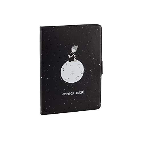 La Volátil Funda Tablet Universal de 9,7' a 10,2' Pulgadas - Tipo Libro con Diseño de Luna sobre fondo Negro