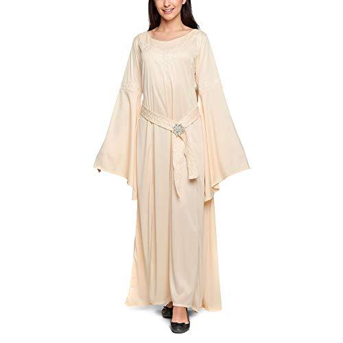 Vestito da Elfo Costume da Donna Arwen con Spilla 3 Pezzi per i Fan del Signore degli Anelli Elbenwald Beige - 36/38