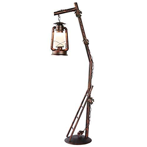DONDOW dormitorio Lámpara de pie americano Rural hacer el viejo Barrido rojo Hierro forjado lámpara de queroseno con hojas y Decoración Escalera lámpara de pie 1.61M con interruptor de pie Compatible