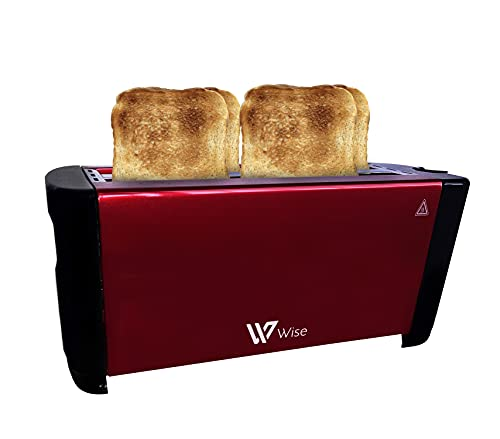 Tostador doble ranura para 4 rebanadas, 6 niveles de tostado, 1200w 50/60hz 110-240v. Función Stop y Bandeja Recogemigas