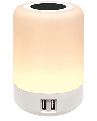 salipt Luz de Nocturna LED,con 4 puertos de carga USB, Lámpara de Mesita de Noche Inteligente, Control Tactil, Regulable,Portátil, Cambio de Color RGB para Niños, Habitación (Blanco Cálido) (Blanco)