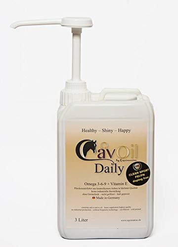 CavOil Daily, Premium Öl für Pferde, Leindotteröl, rein biologisch, Vitamin 3-6-9, Vitamin E,ohne Zusätze, Made in Germany, 3 Liter