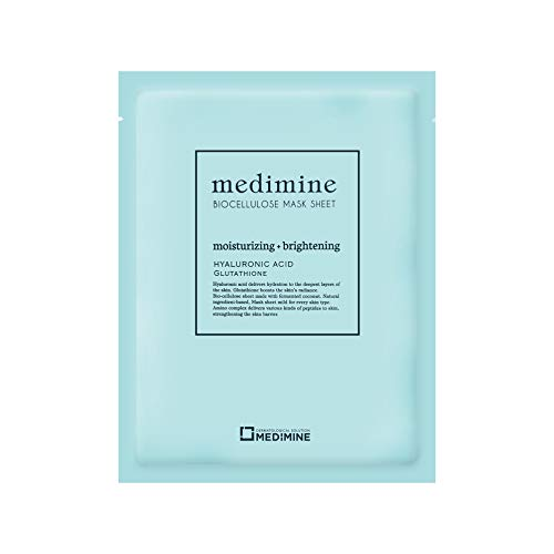 MDEDIMINE 5PCS Dermatologist recommended Whitening Hydrating biocellulose mask Korean facial mask for women and for men, moisture face mask, Paraben Free, Phenoxyethanol Free, No artificial coloring