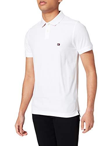 Tommy Hilfiger 1985 Contrast Placket Slim Polo Camisa, Blanco, XL para Hombre