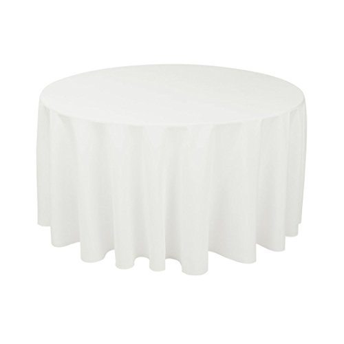 """Gee Di Moda Tablecloth - 120"""" Inch Round Tablecloths for Circular Table Cover in White Washable Polyester - Great for Buffet Table, Parties, Holiday Dinner & More"""
